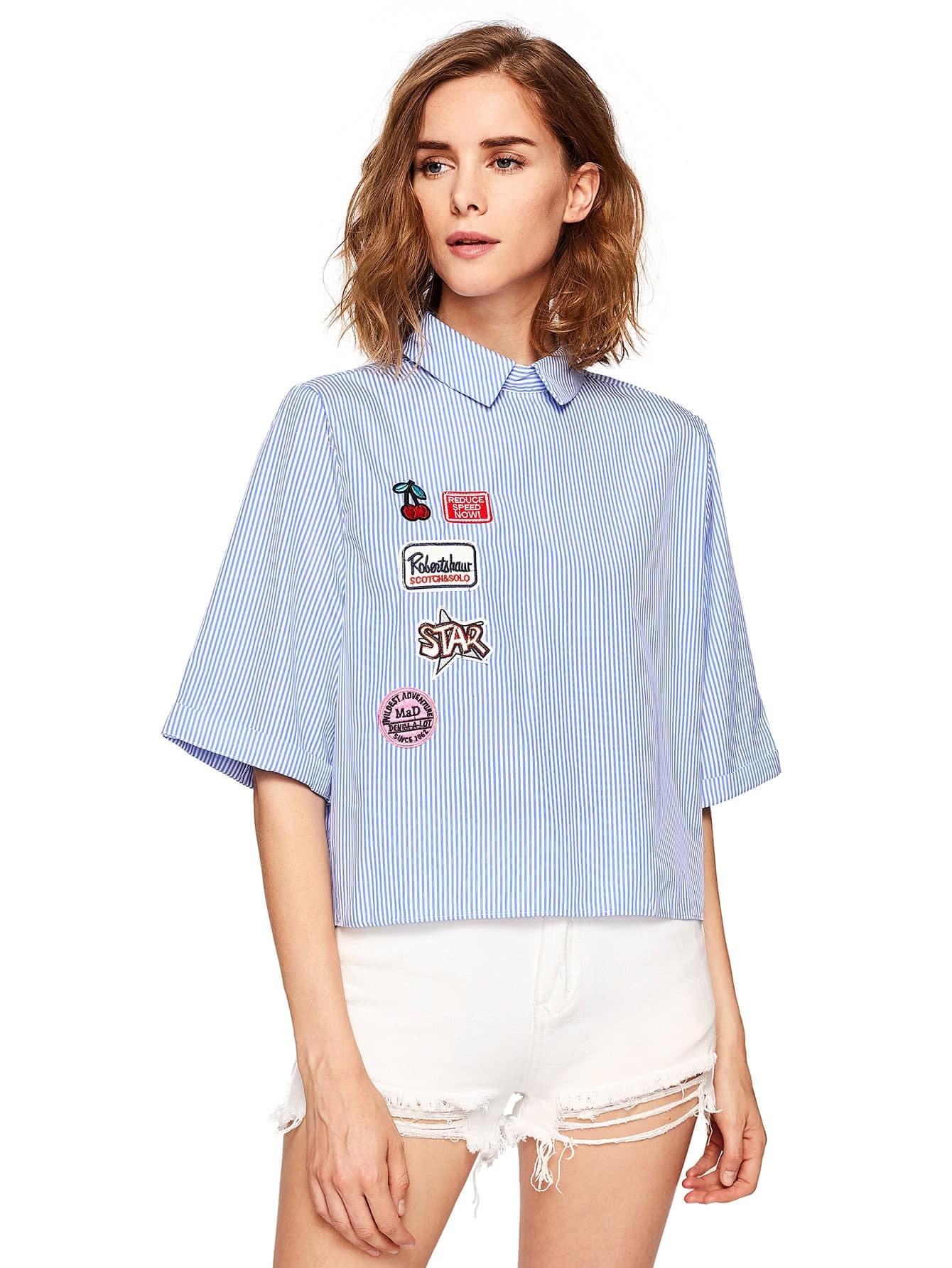 Фото Lovely Patch Detail Buttoned Back Pinstripe Shirt. Купить с доставкой