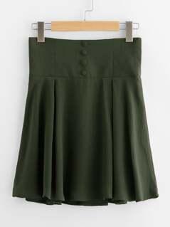 Buttoned Wide Waistband Swing Skirt