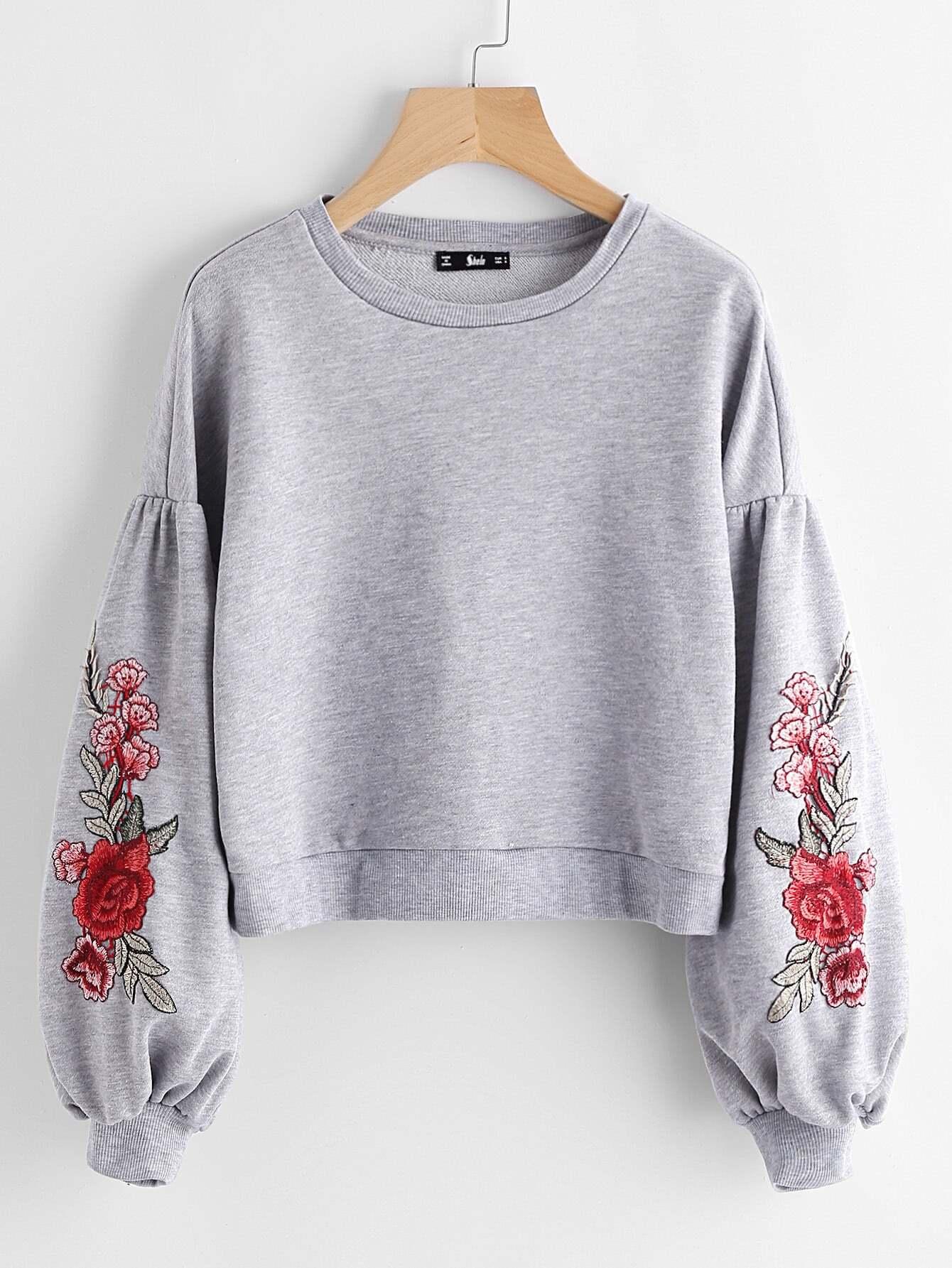 Embroidered Flower Patch Lantern Sleeve Heather Knit Sweatshirt drop shoulder lantern sleeve sweatshirt