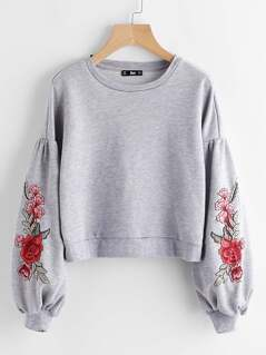 Embroidered Flower Patch Lantern Sleeve Heather Knit Sweatshirt