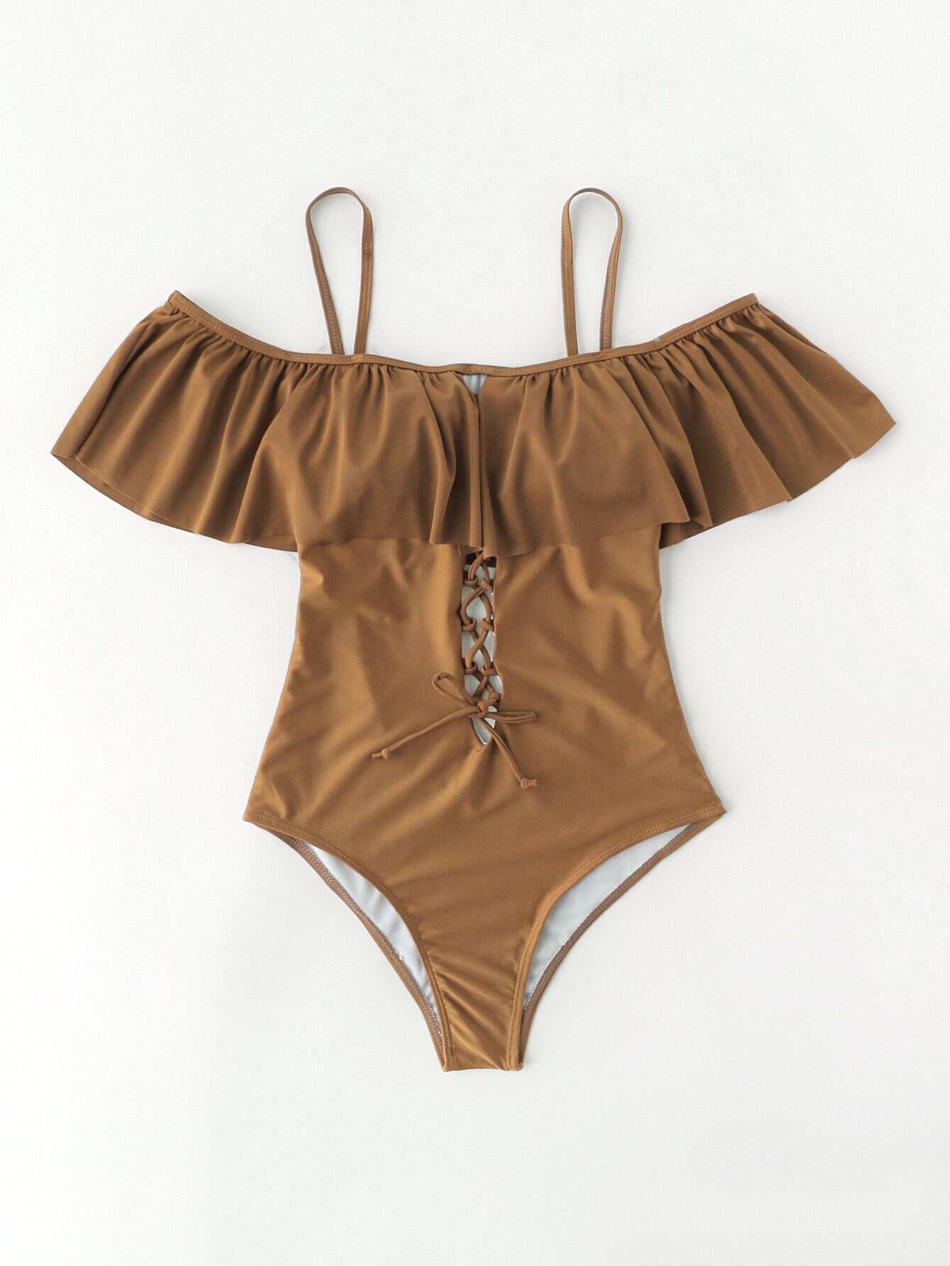 Фото Criss Cross Design Open Back Flounce Swimsuit. Купить с доставкой