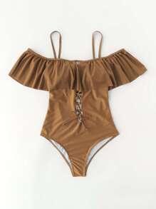 Criss Cross Design Open Back Flounce Swimsuit
