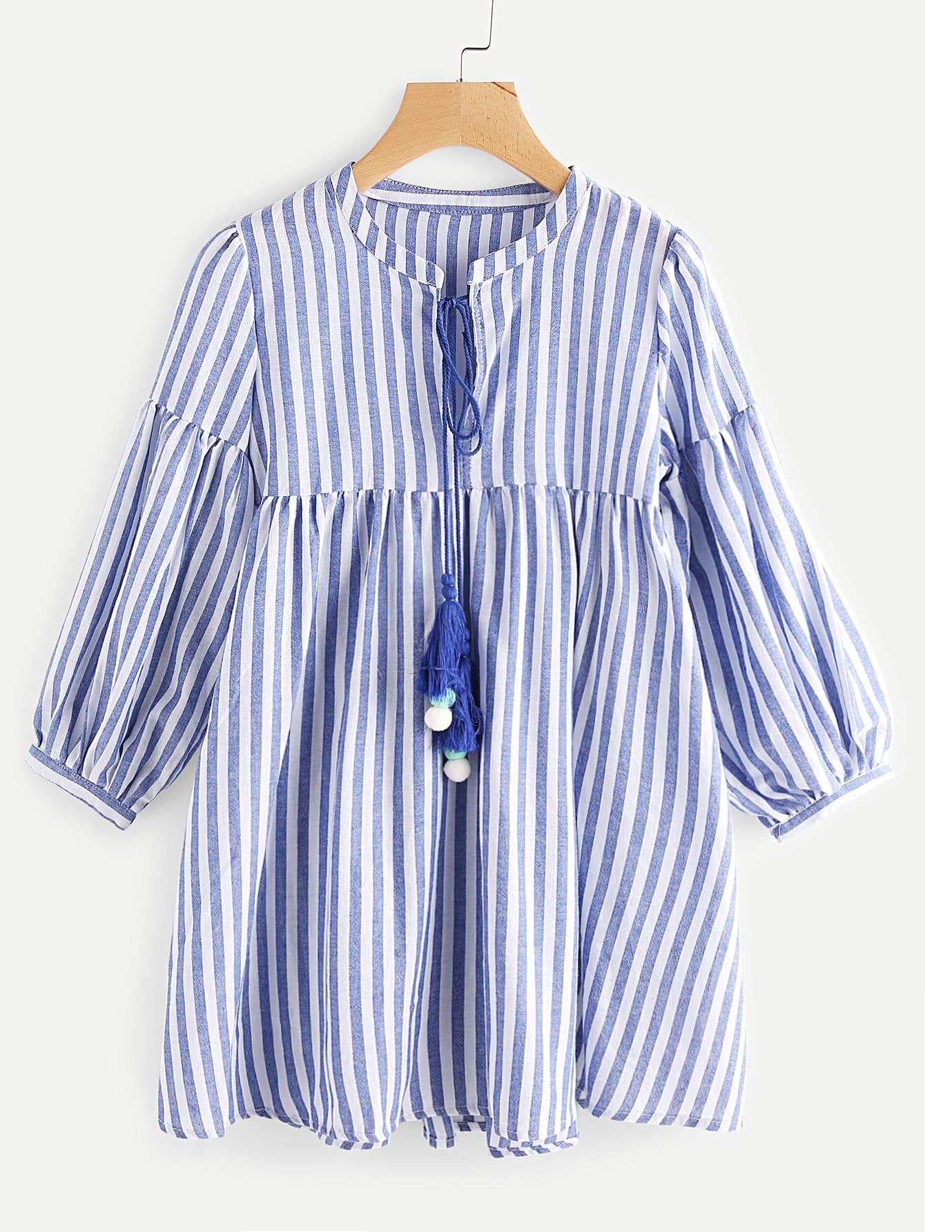 Фото Contrast Striped Lantern Sleeve Tassel Tie Neck Dress. Купить с доставкой