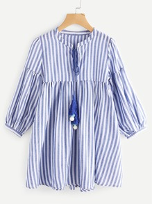 Contrast Striped Lantern Sleeve Tassel Tie Neck Dress