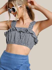 Frill Detail Thick Strap Crop Gingham Top