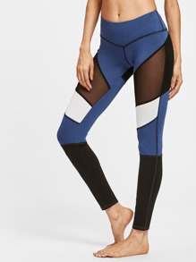 Leggins de malla insertada en color block