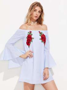 3D Flower Patch Flute Sleeve Bardot Dress