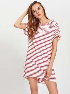 Roll Cuff Hi Lo Tee Dress