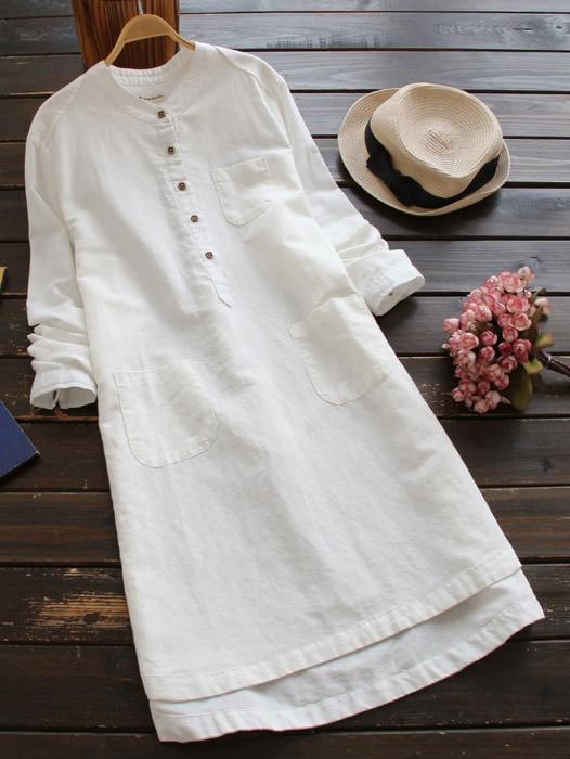 Stand Collar Dip Hem Shirt Dress