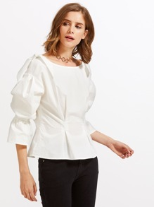 Bow Embellished Shoulder Fold Pleat Blouse
