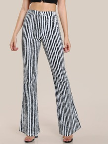 Front Seam Detail Tailored Flare Pants