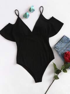 Frill Sleeve Scoop Back Bustier Bodysuit