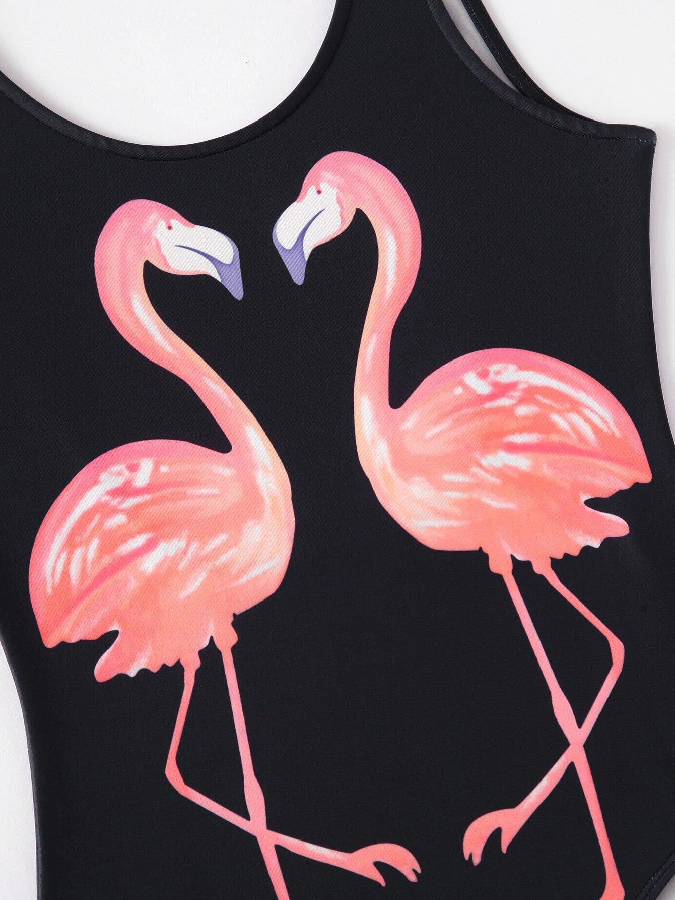 flamingo print backless tank bodysuit emmaclothwomen fast