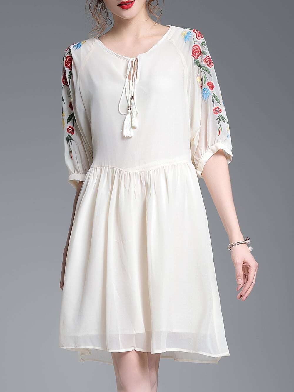 Фото Tie Neck Flowers Embroidered Dress. Купить с доставкой