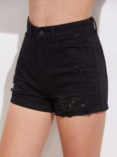 Distressed Roll Cuff Denim Shorts