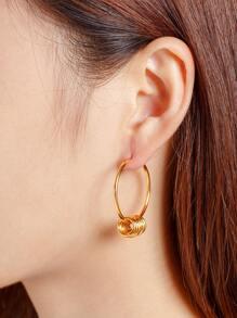 Metal Circle Design Hoop Earrings