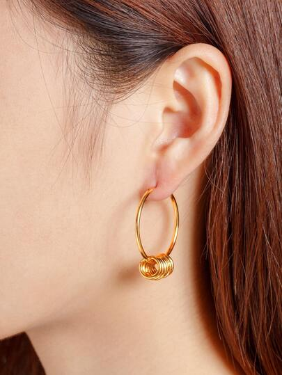 Metal Circle Design Hoop Earrings