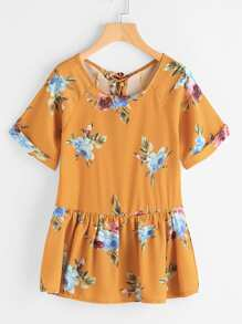Allover Florals Lace Up Back Smock Top