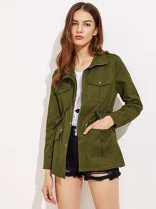 Four-Pocket Drawstring Utility Coat
