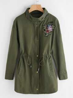 Zip Collar Flower Patch Drawstring Waist Utility Coat
