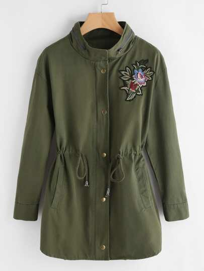 Zip Collar Flower Patch Drawstring Waist Utility Coat