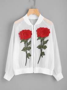 See-Through Embroidered Appliques Ribbed Trim Jacket