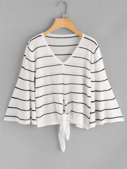 Fluted Sleeve Striped Split Knot Front Knit Sweater