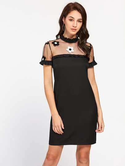 Embroidered Mesh Yoke Frilled Dress
