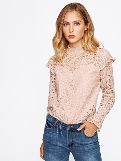 Frill Trim Bell Cuff Floral Lace Top