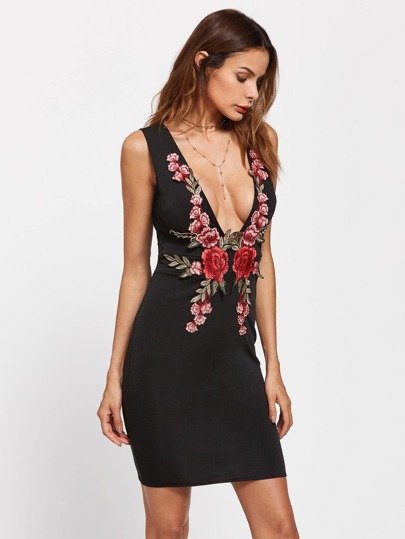 Plunging Embroidered Appliques Bodycon Dress
