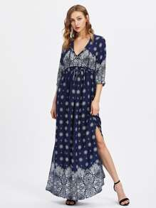 V-neckline Slit Side Ornate Print Dress