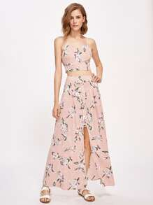 Flower Print Crop Cami Top With Buttoned Slit Front Skirt