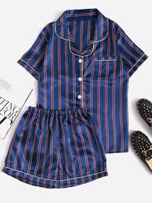Contrast Piping Striped Shirt & Shorts Pajama Set