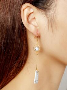 Geometric Marble Design Drop Earrings