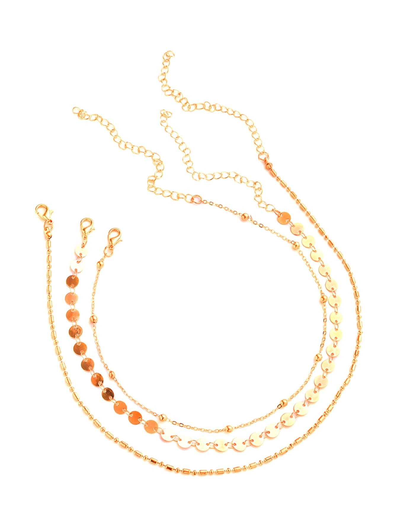 Фото Sequin & Beaded Chain Necklace Set. Купить с доставкой