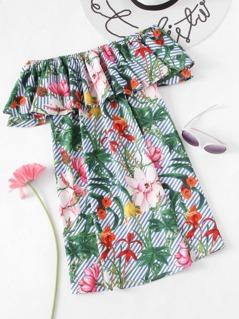 Tropical Print Flounce Bardot Dress