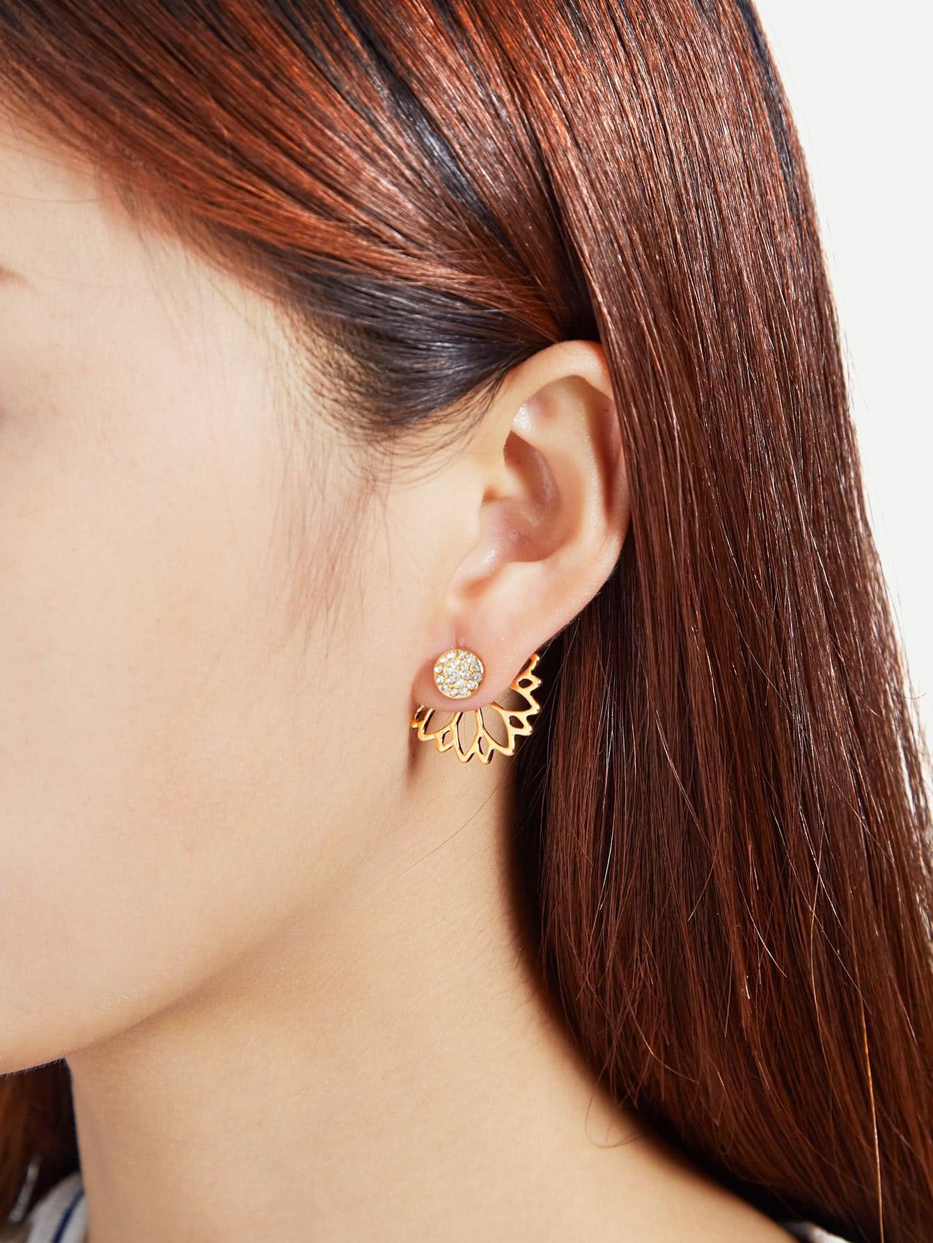 Rhinestone Hollow Lotus Design Ear Jacket