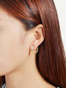 Boucles d\'oreille creuse design de lotus en strass