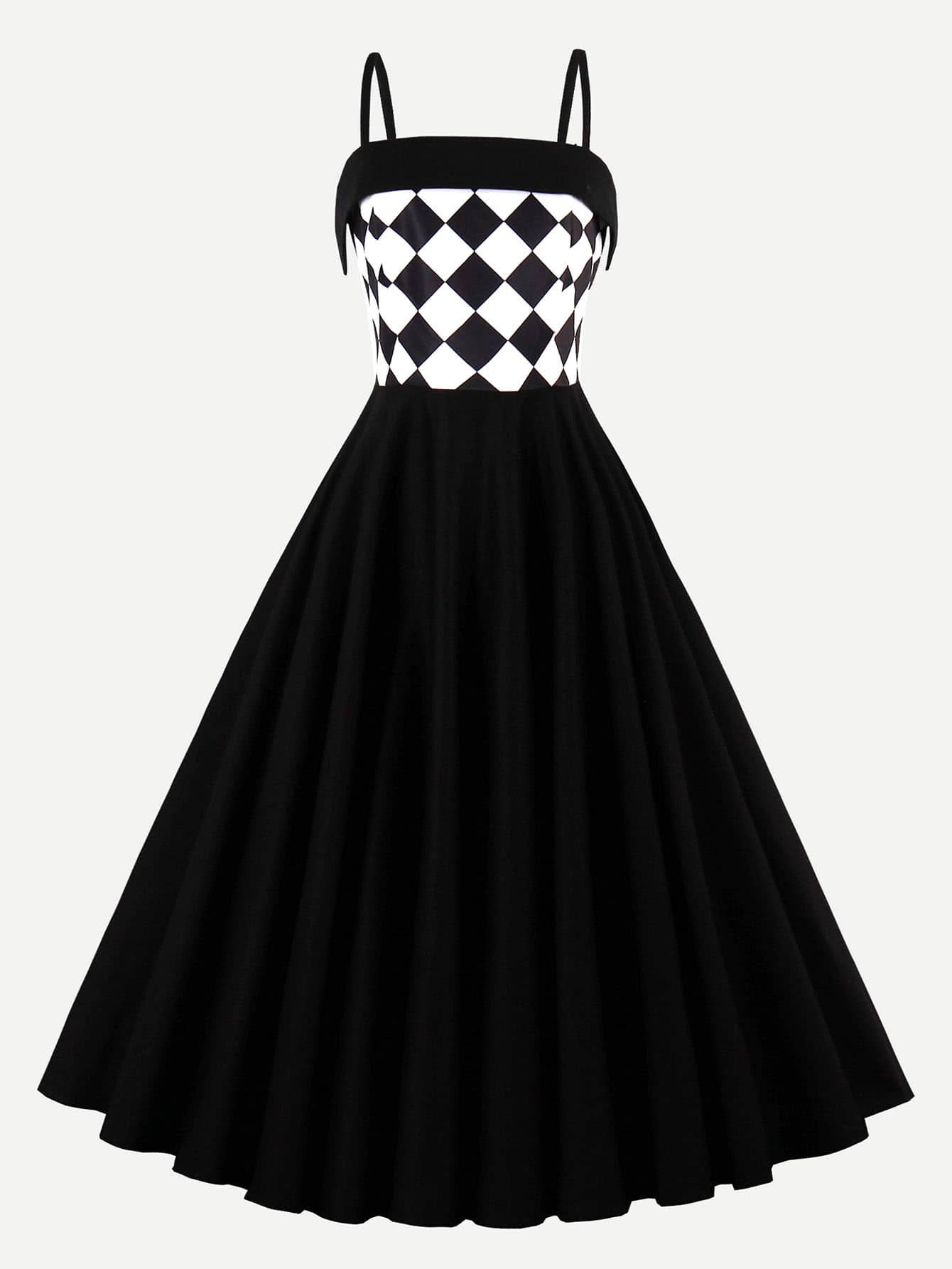 Contrast Checkered Circle Dress  мультиметр oem excel dt9205a 12768