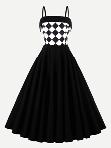 Contrast Checkered Circle Dress