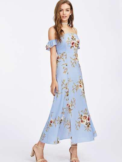 Vestido de hombro al aire con estampado floral al azar con manga de volante
