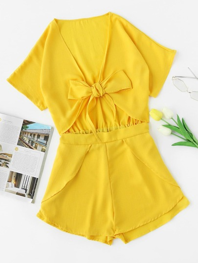 Plunging V-neckline Cut Out Bow Tie Romper