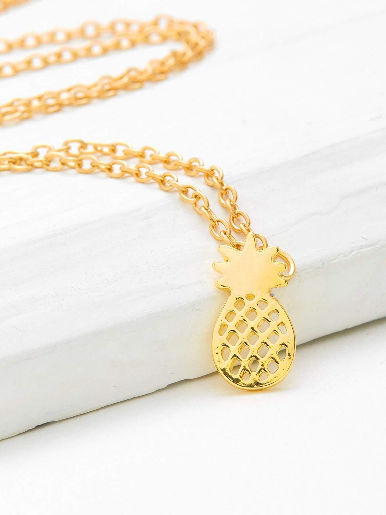 Фото Hollow Pineapple Pendant Chain Necklace. Купить с доставкой