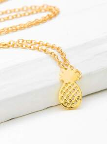 Hollow Pineapple Pendant Chain Necklace