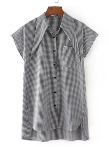 Point Collar Gingham High Low Blouse