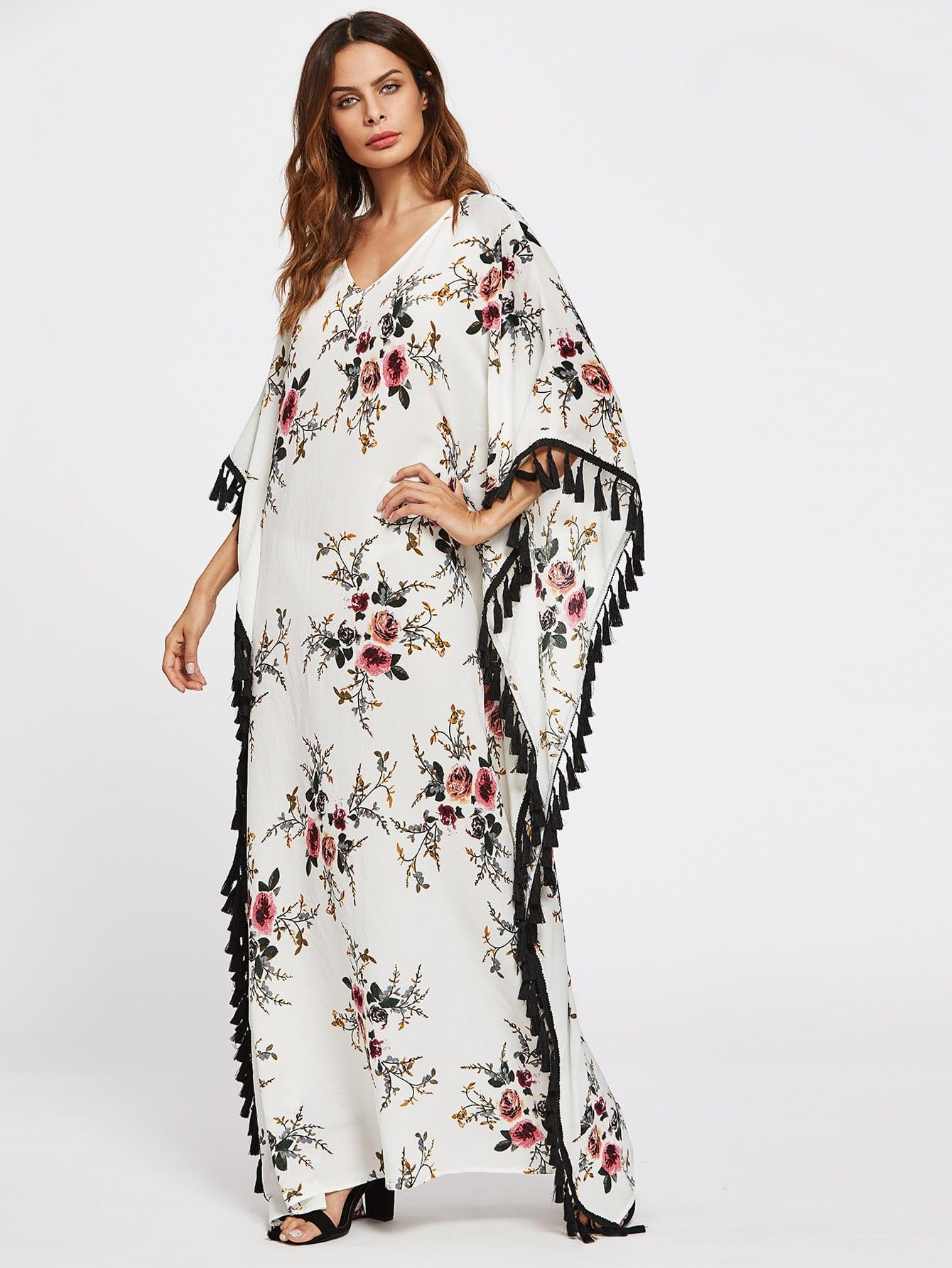 Фото Flower Print Tassel Trim Poncho Dress. Купить с доставкой