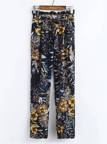 سروال طباعة أزهار ربطة خصر