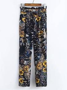 Floral Print Tie Waist Pants