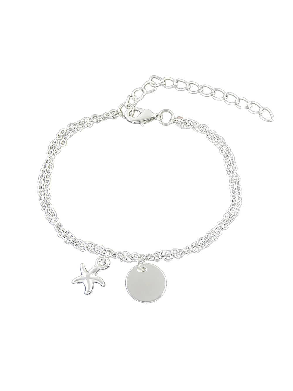 Silver Color Starfish Charm Chain Link Bracelets