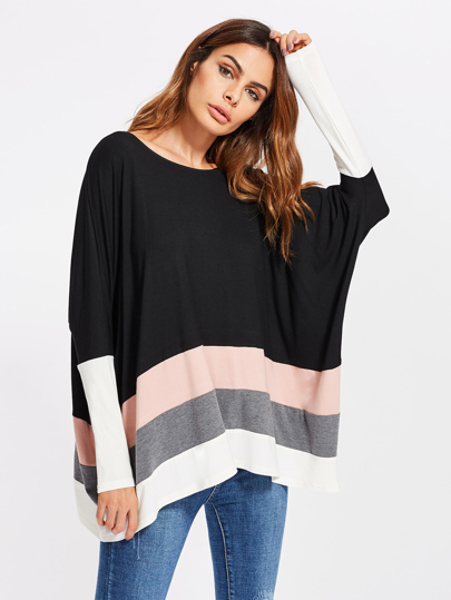 Top dolman color-block large